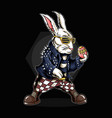 easter bunny holding eggs and he is wearing a vector image vector image