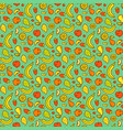 fruits and berries on turquoise seamless pattern vector image