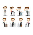 full length portrait of a young businessman with a vector image vector image