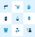 garden icons colored set with bucket flower vector image