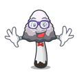 geek shaggy mane mushroom character cartoon vector image