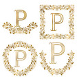 golden p letter ornamental monograms set heraldic vector image vector image