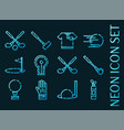 golf set icons blue glowing neon style vector image vector image