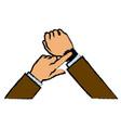 hand man business smart watch apps gadget vector image vector image