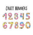 hands up crazy numbers vector image vector image