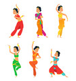 indian dancers isolate on white background vector image vector image