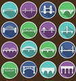 isolated bridges icons set vector image vector image