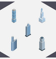 isometric skyscraper set of apartment building vector image vector image