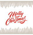 merry christmas greeting card with lettering vector image vector image