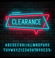 neon light linear promotion ribbon banner price vector image vector image