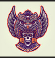 owl mystical with skull vector image