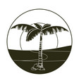 palm tree in desert round icon vector image vector image