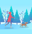 person activity with dog in winter time vector image vector image