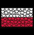 poland flag pattern of valentine heart icons vector image