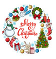 round frame with christmas icons vector image vector image