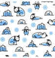 Seamless pattern with cute doodle seal polar bear vector image vector image