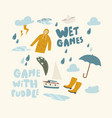 set icons games with puddles water rain drops vector image