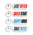 set sale countdown 3d badges with clock last vector image