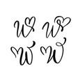 set vintage floral letter monogram w vector image