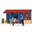 sidewalk cafe senior man reading newspaper vector image vector image