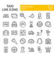 taxi line icon set car symbols collection vector image vector image