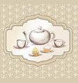 tea cup kettle retro card tea time vintage vector image vector image