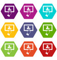 touch screen tablet click icon set color vector image vector image
