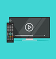 tv flat screen watching video film and remote vector image vector image