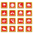 weater icons set red square vector image vector image