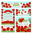 welcome spring banner template with flowers vector image vector image