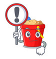 with sign beach bucket shape with sand cartoon vector image