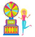 woman gambling in casino slot machine winning vector image vector image