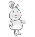 a cute cartoon grey hare with two different size vector image vector image