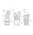 a set cacti doodle style black color isolated vector image