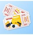 Action movie tickets set vector image vector image