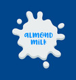 almond milk banner icon with white splash and vector image