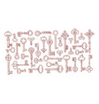 big collection doodle vintage keys on white vector image