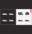 big set of car icons in black and white vector image vector image