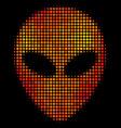 bright pixel alien face icon vector image