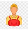 builder icon in cartoon style vector image vector image