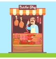 Butcher Behind Market Counter With Assortment Of vector image vector image