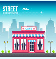 cafe shop building in city space with road on flat vector image
