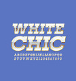 chic white and gold font elite retro alpha vector image