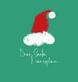 christmas greeting card with santas hat vector image vector image