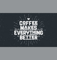 coffee poster with hand drawn lettering coffee vector image vector image