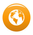 continent on planet icon orange vector image