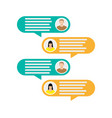Couple avatar icons with dialog speech bubbles