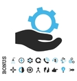 Engineering Service Flat Icon With Bonus vector image vector image