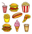 fast food lunch takeaway dishes isolated sketch vector image