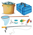 Fishing set with fishing pole and tools vector image vector image